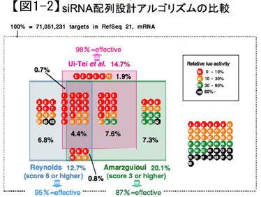 siRNA配列設計アルゴリズムの比較